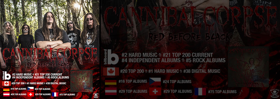 CANNIBAL CORPSE lands on international charts with new album, 'Red Before Black'!