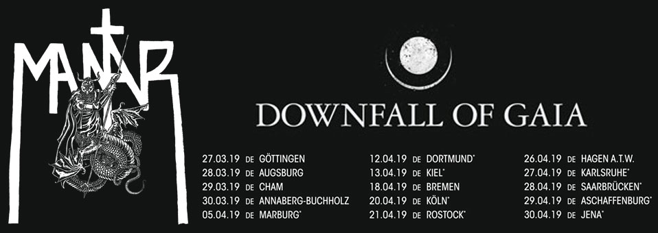 DOWNFALL OF GAIA announces live dates with MANTAR!