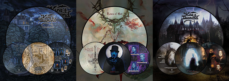 KING DIAMOND: 'Abigail II: The Revenge', 'House of God', 'Voodoo' LP re-issues now available via Metal Blade Records!