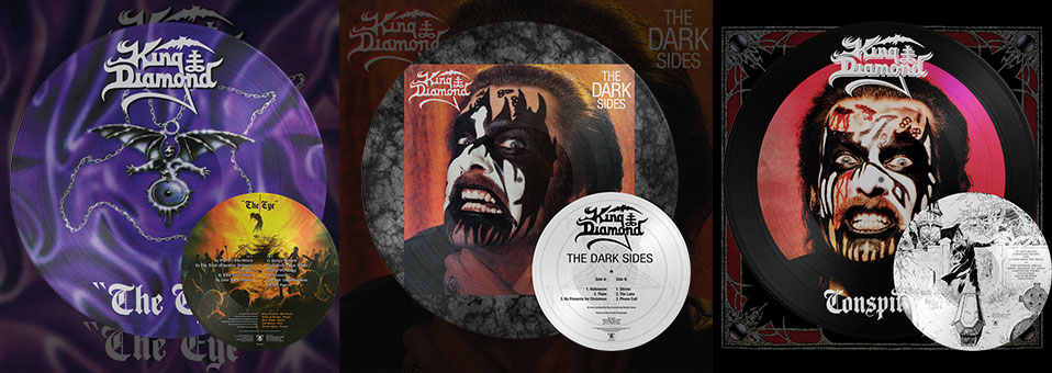 KING DIAMOND: 'Conspiracy', 'The Dark Sides', 'The Eye' LP re-issues now available via Metal Blade Records!