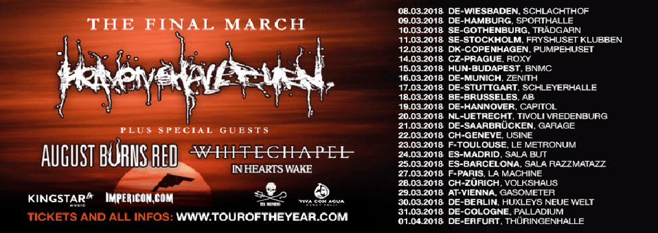 WHITECHAPEL gehen im Vorprogramm von Heaven Shall Burn auf 'The Final March'-Europtournee!