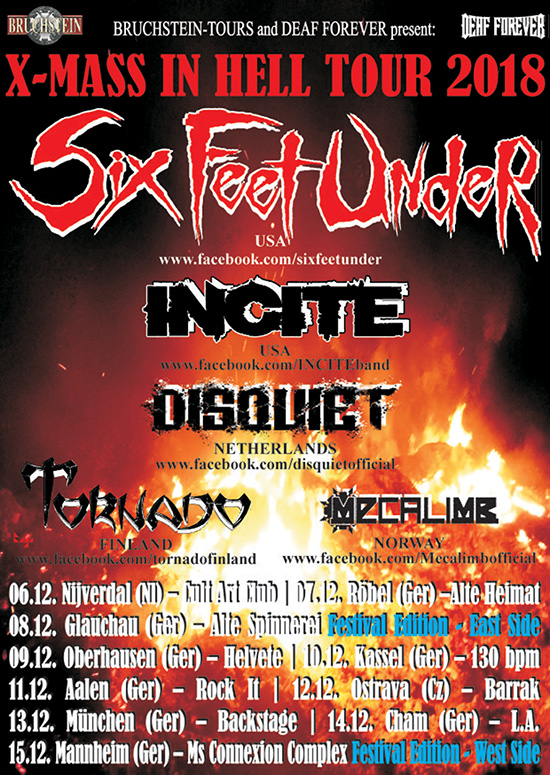 Six Feet Under Announces European Xmas In Tour For December