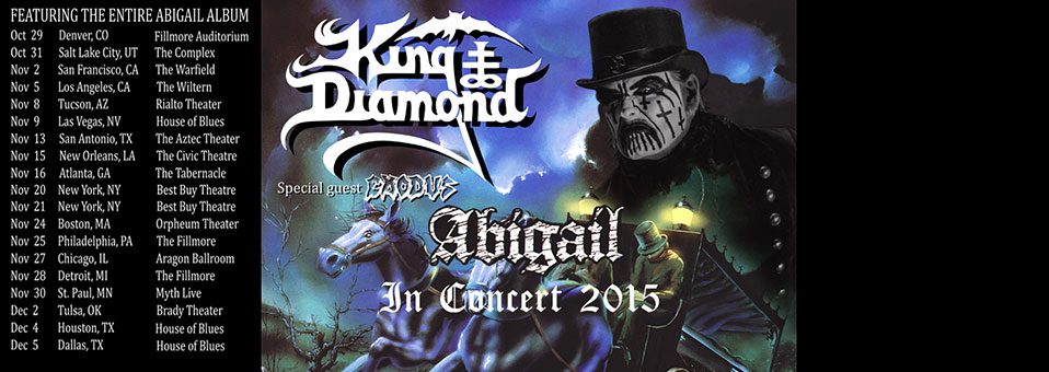 "King Diamond announces ""Abigail In Concert 2015″ tour"