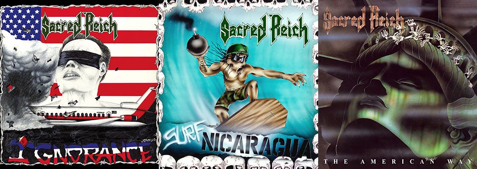 Sacred Reich: 'Ignorance', 'Surf Nicaragua' and 'The American Way' CD and LP re-issues now available via Metal Blade Records