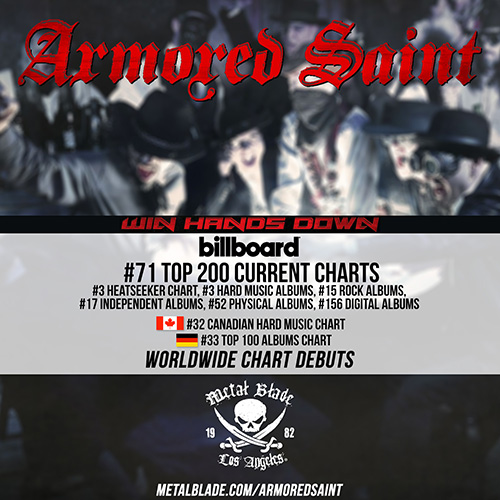 Armored saint s new album win hands down debuts at 71 on