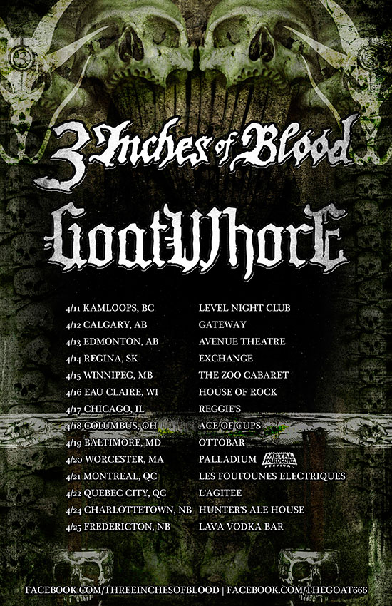 GOATWHORE announces co-headline tour with 3 INCHES OF BLOOD