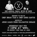 "Chefs Chis Santos and Brian Tsao announce second annual ""Small Bites Of Hope"" fundraiser for mental health education and suicide prevention"